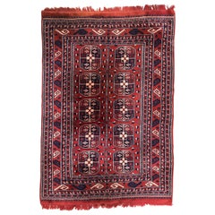 Vintage fine Turkmen Afghan Boukhara design Rug