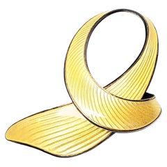 Vintage Finn Jensen Sterl Silver Gold Vermeil Yellow Enamel Ribbon Pin