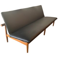 "Vintage Finn Juhl ""Japan"" Sofa Black Leather and Teak"