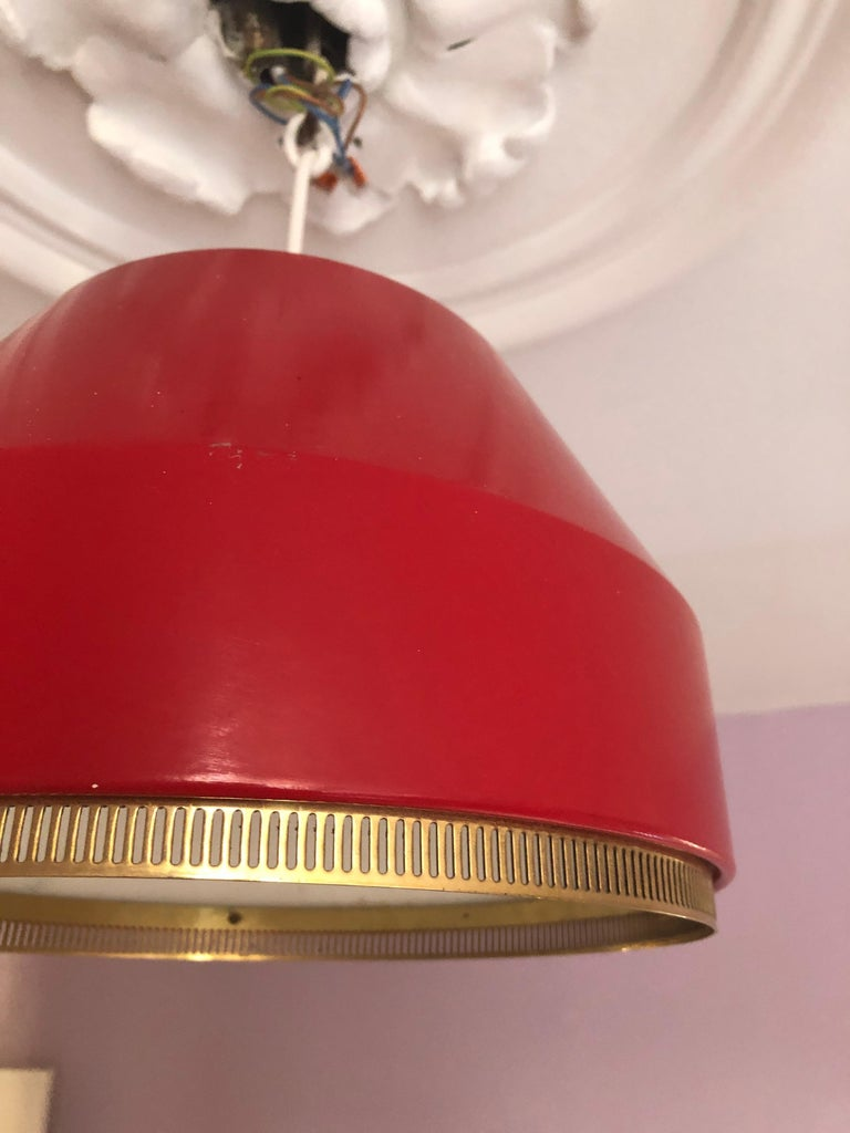 Mid-20th Century Vintage Finnish 1941 Aino Aalto Pendant Light Model AMA500 in Red For Sale