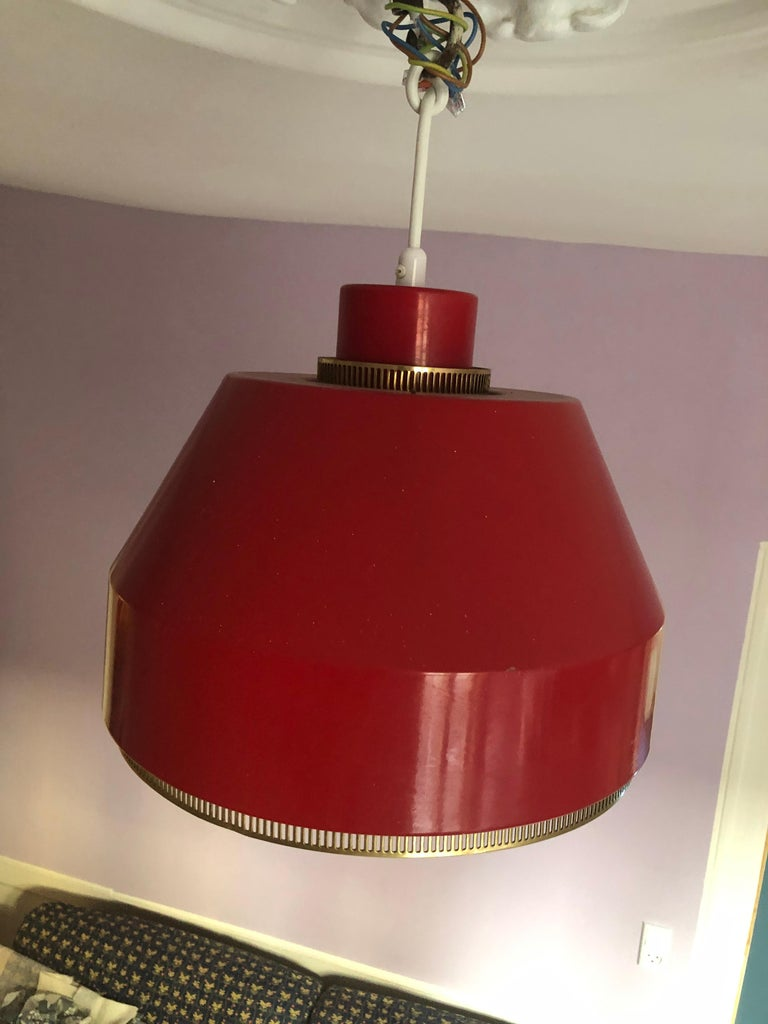 Vintage Finnish 1941 Aino Aalto Pendant Light Model AMA500 in Red For Sale 4