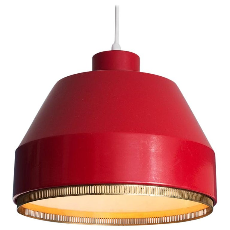 Vintage Finnish 1941 Aino Aalto Pendant Light Model AMA500 in Red For Sale