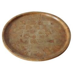 Vintage Finnish Hand Produced Juniper Wooden Block Tray Plate Finland