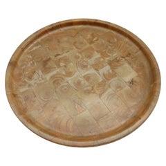 Vintage Finnish Hand Produced Juniper Wooden Block Tray Plate, Finland