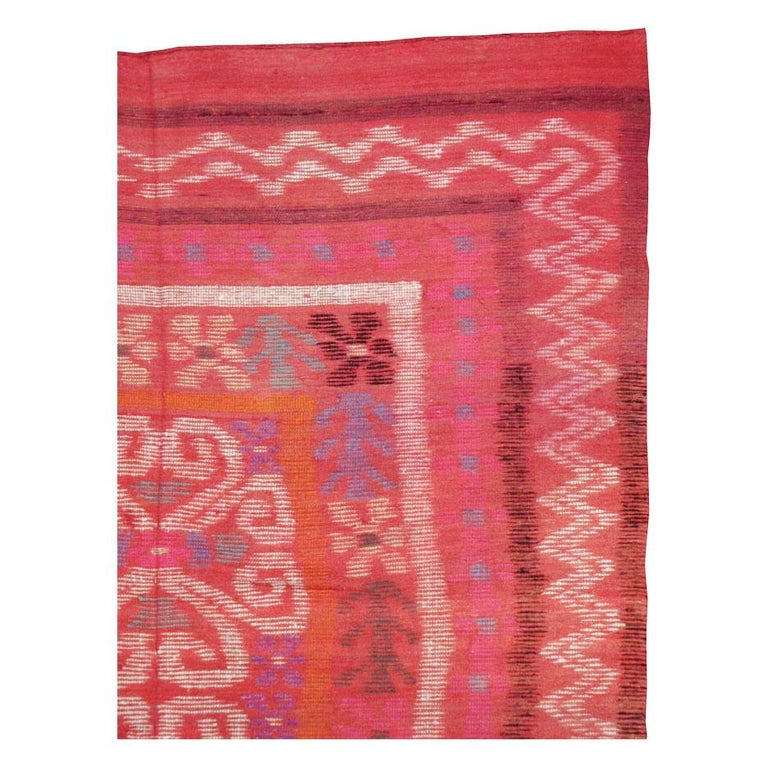 Finnish Midcentury Handmade Scandinavian Modern Kilim In Coral Red For Sale