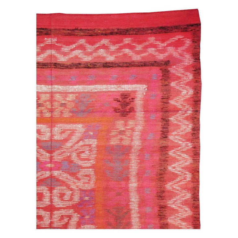 Hand-Woven Midcentury Handmade Scandinavian Modern Kilim In Coral Red For Sale