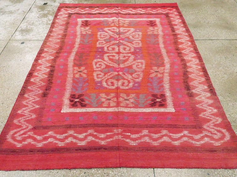 Midcentury Handmade Scandinavian Modern Kilim In Coral Red In Fair Condition For Sale In New York, NY