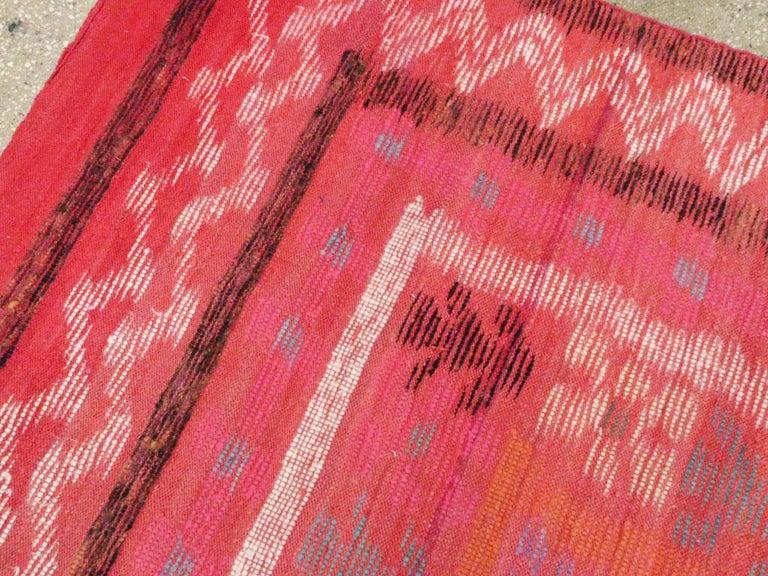 Wool Midcentury Handmade Scandinavian Modern Kilim In Coral Red For Sale