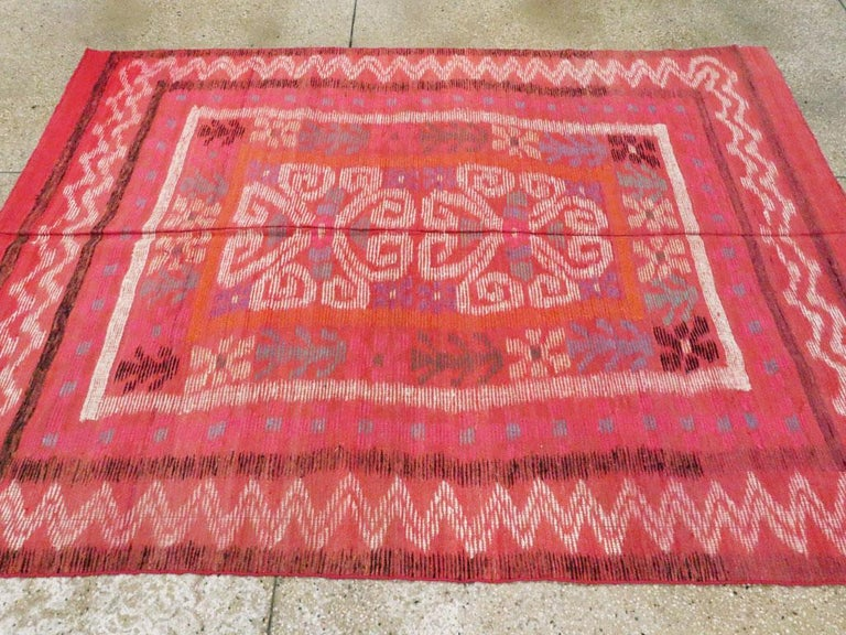 Midcentury Handmade Scandinavian Modern Kilim In Coral Red For Sale 1