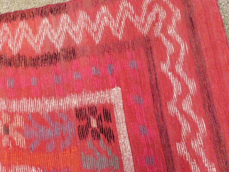 Midcentury Handmade Scandinavian Modern Kilim In Coral Red For Sale 2