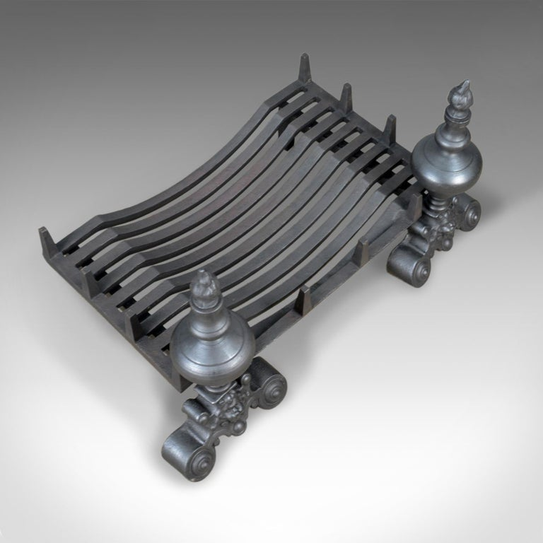 Forged Vintage Fire Basket, Grate, Dogs, Andirons, English, Fireplace Accessory For Sale