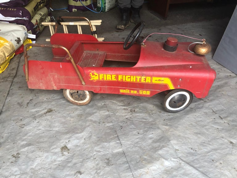 Mid-20th Century Vintage Fire Engine Toy Pedal Car with Ladders For Sale