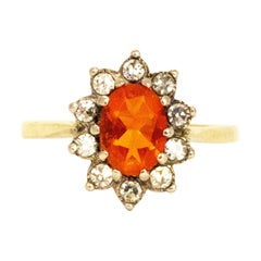 Vintage Fire Opal and Diamond 18 Carat Gold Cluster Ring