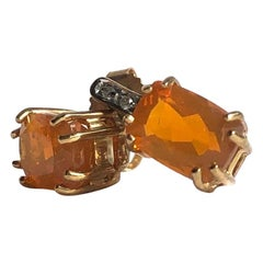 Vintage Fire Opal and Diamond 9 Carat Gold Stud Earrings