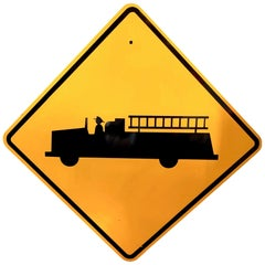 Vintage Fire Truck Street Sign