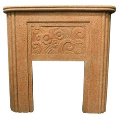 Vintage Fireplace in Red Grit, Carved Flowers, 20th Century Decò Style