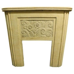 Vintage Fireplace in White Grit, Deco Style, 20th Century