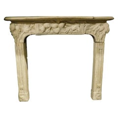 Vintage Fireplace Mantle in Hand Sculpted Beige Concrete, Early 1900s, Italy