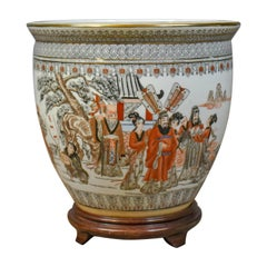 Vintage Fish Bowl on Stand, Plant Jardinière, Chinese, Ceramic Pot
