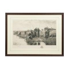 Vintage Fishing Picture, Thursday by Dendy Sadler, Monks Fishing