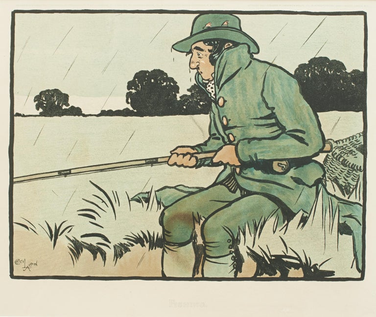 Sporting Art Vintage Fishing Print by Cecil Aldin For Sale