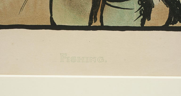 Vintage Fishing Print by Cecil Aldin In Good Condition For Sale In Oxfordshire, GB