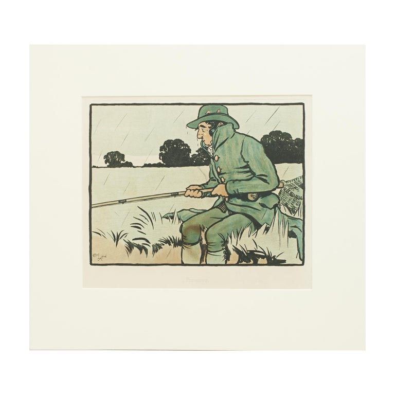 Vintage Fishing Print by Cecil Aldin For Sale