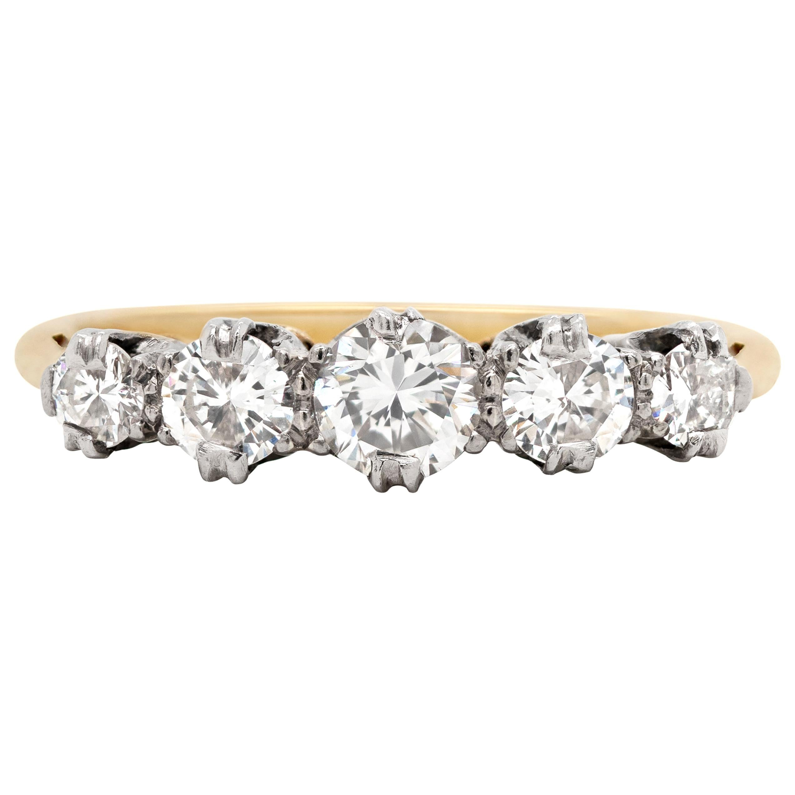 Vintage Five-Stone Diamond Platinum and 18 Carat Yellow Gold Ring