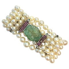 Vintage Five Strand Pearl Emerald Ruby Diamond Platinum Bracelet