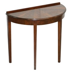 Vintage Flamed Hardwood Demilune Console Side Table Beautiful Timber Patina