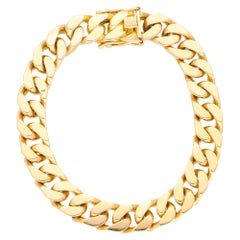 Vintage Flat Curb Link Chain Bracelet Set in Solid 18k Yellow Gold