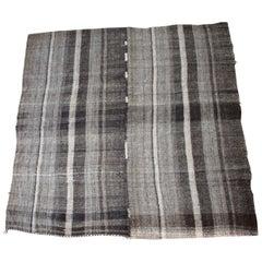 Vintage Flat-Weave Anna Turkish Rug in Brown and Cream Stripe
