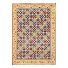 Vintage Flat Weave Cotton Dhurrie with Star Pattern in Blue, Yellow & Brown Red