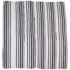 Vintage Flat-Weave Hemp Stripe Turkish Rug White with Dark Brown Stripes