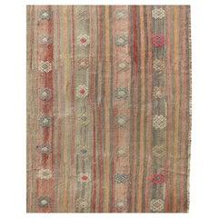Vintage Flat-Weave Kilim Rug with Geometric Motifs with Unique Colors
