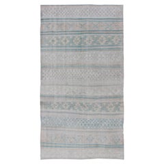 Vintage Flat-Weave Kilim with Embroideries in Blush, Green, Blue and Gray