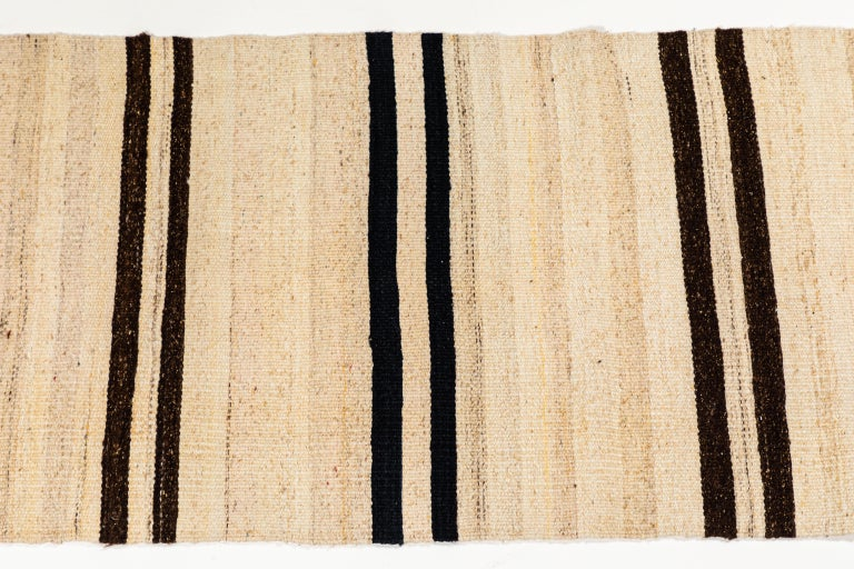 Turkish Vintage Flat-Weave Konyan Cream Black and Brown Striped Runner