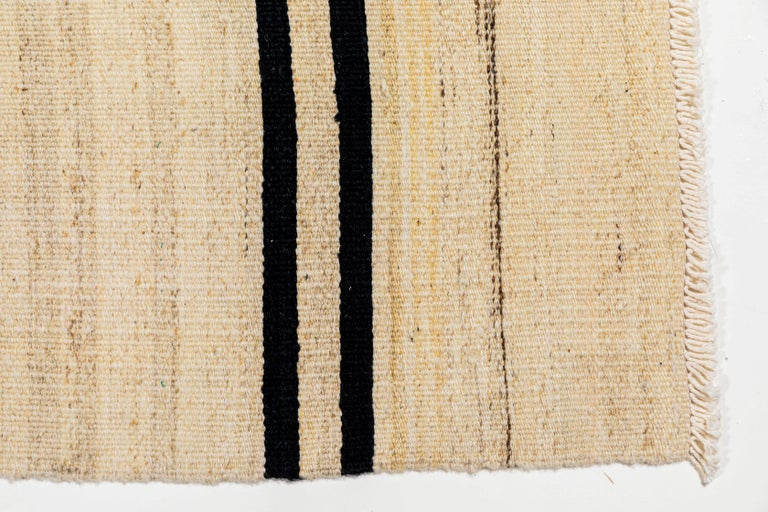 Vintage Flat-Weave Konyan Cream Black and Brown Striped Runner In Good Condition In Los Angeles, CA