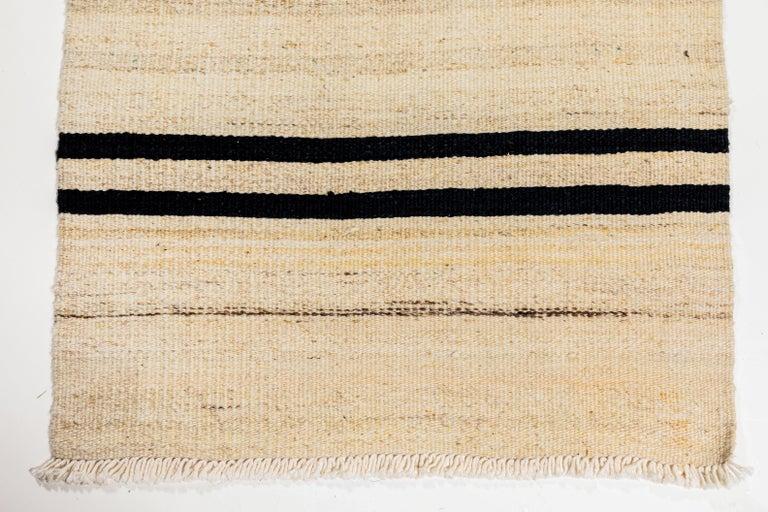 20th Century Vintage Flat-Weave Konyan Cream Black and Brown Striped Runner