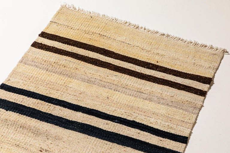 Vintage Flat-Weave Konyan Cream Black and Brown Striped Runner 1