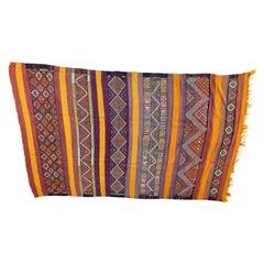 Vintage Flat-Weave Tribal Moroccan Rug