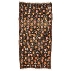 Vintage Flat-Weave Turkish Floral Kilim Rug with Boho Farmhouse Style