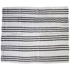 Vintage Flat-Weave Turkish Hemp Rug in Creamy White and Brown Stripes