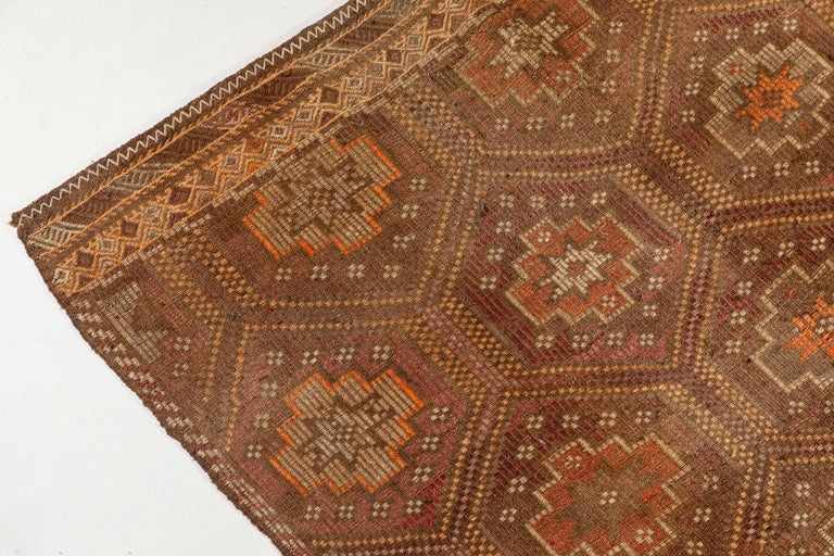 Vintage flat-weave Turkish Jajim from Mersin Mut, with rust colored accent.