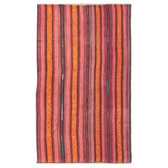 Vintage Flat-Weave Turkish Kilim in Charcoal, Orange with Tribal Motifs
