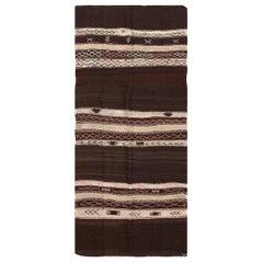"Vintage Flat-Woven Moroccan Kilim Rug. Size: 4' 5"" x 10' 2"" (1.35 m x 3.1 m)"