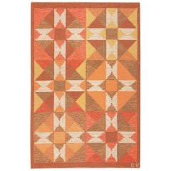 Vintage Flat-Woven Scandinavian Swedish Kilim Rug. Size: 4 ft 7 in x 7 ft
