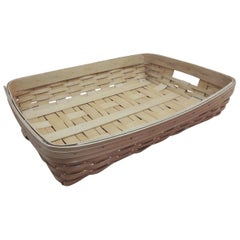 Vintage Flat-Woven Serving Fruit Basket/ Tray