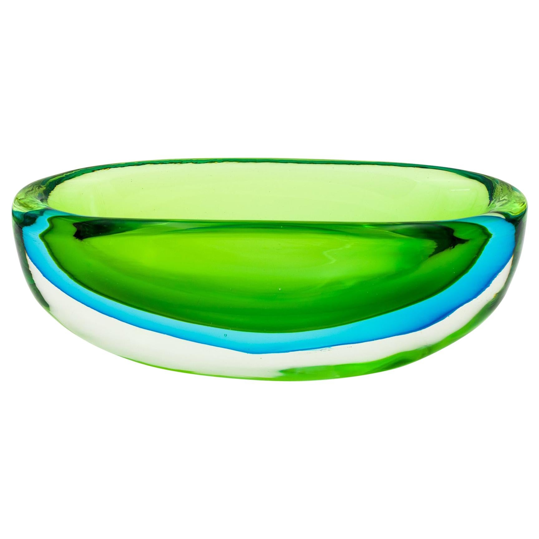 Vintage Flavio Poli for Seguso Vetri d'Arte Large Green and Blue Glass Dish