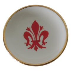 Vintage Fleur-de-Lis Red and Gold Italian Porcelain Trinket Dish